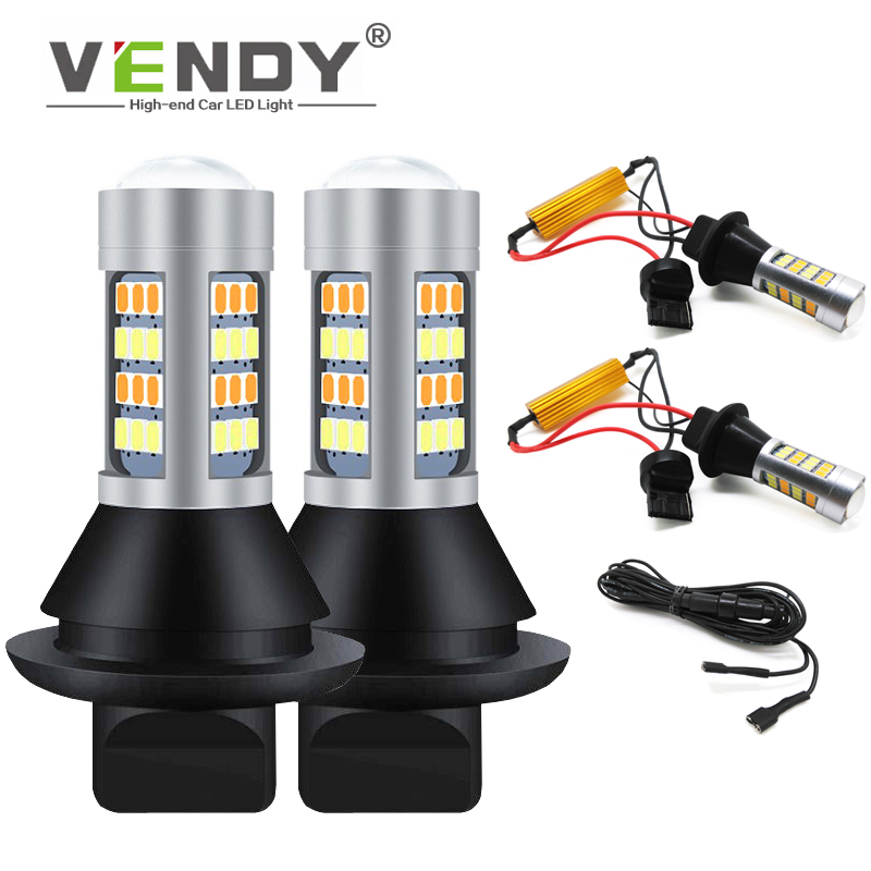 1set WY21W T20 PY21W BAU15S Canbus LED Turn Signal Bulb + Daytime Running Light DRL For toyota corolla chr auris yaris rav4 wish image