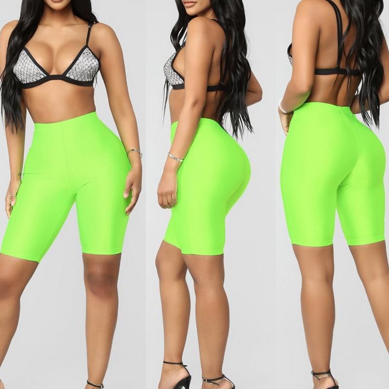 OEAK Womens Fluorescence Biker   Shorts   Tracksuit Slim Black Casual High Waist   Shorts   Women Fashion Solid Sexy Booty   Shorts   2019