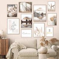 Arte de pared de paisaje natural, lienzo de pintura de flores, hierba, sol, niebla, imagen de paisaje, decoración del hogar, póster e impresión para sala de estar