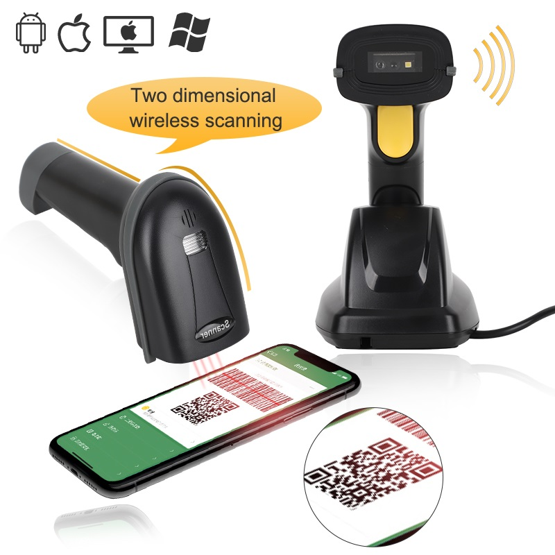 Portable barcode QR 2d code scanner pocket portatil wireless barcode reader USB Built-in battery with base use for windows Mac image