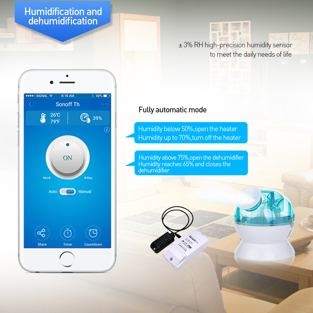 Sonoff TH16 Relay Module Smart Home Wifi Switch Humidity Sensor Temperature Monitor Works With Alexa Google Home 5