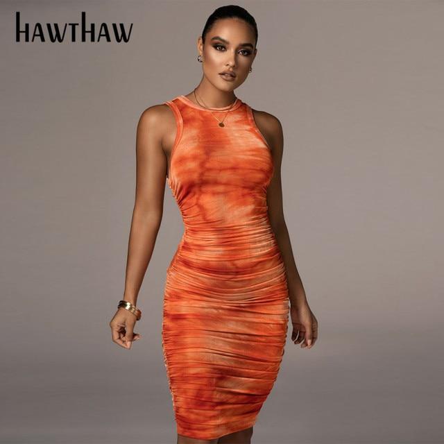 Hawthaw Women Autumn Summer Sleeveless Printed Bodycon Pleated Slim Package Hip Dress Sundress 2021 Female Clothing Streetwear 3