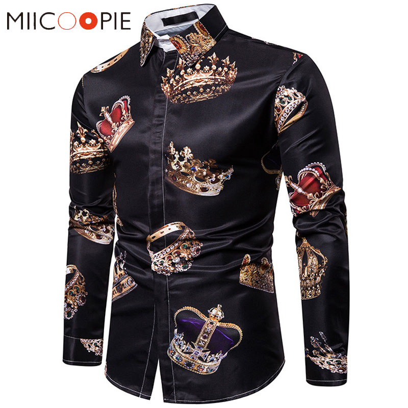 Royal Crown Print Black Shirt Men Luxury Casual Camisas Hombre Manga Larga High Quality Business Formal Slim Mens Dress Shirts