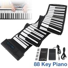 цена на 88 Keys USB MIDI Output Roll Up Piano Rechargeable Electronic Portable Silicone Flexible Keyboard Organ with Sustain Pedal Hot