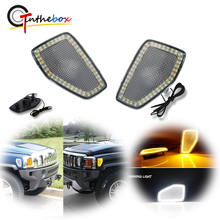 Gtinthebox Smoked/Clear Lens White/Amber Switchback LED Car Front Side Marker Lights For Hummer H3 H3T Turn Signal/Driving Light