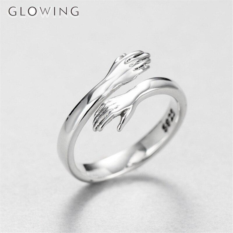 925 серебро Творческий любовь Hug кольцо серебряных Цвет Модные женские открытые кольца, ювелирные подарки для любителей подарок на день Свят...