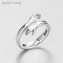 925 prata criativo amor abraço anel silvers cor moda senhora aberto anéis jóias presentes para os amantes do dia dos namorados presente