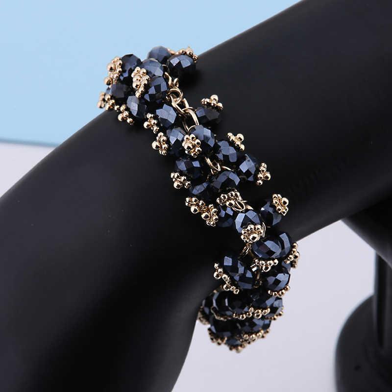 Eleshe Bohemian Pesona Gelang untuk Wanita Multilayer Hitam Alam Batu Manik-manik Gelang dengan Rantai Emas Fashion Perhiasan