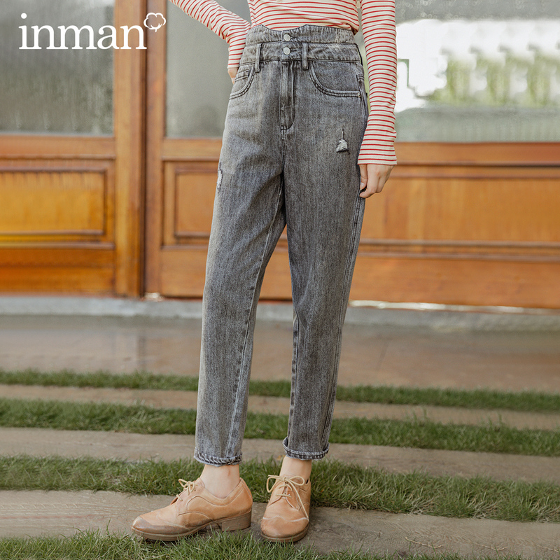 INMAN 2020 Autumn New Arrival Retro Style Vintage Loose Washed Denim Torn Trousers