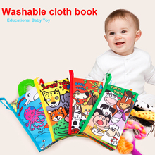 Купить с кэшбэком New Baby Toys Infant Kids Early Development Cloth Books Learning Education Unfolding Activity Books Animal Tails Style DS9
