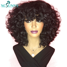 Short Wigs Human Hair Machine Made Scalp Top Bob Wig With Bangs 200 Density Spiral Curl Remy Peruvian Hair Curly Wigs Xcsunny