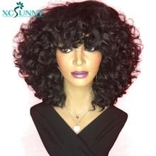 Krótkie peruki ludzkie włosy maszyna wykonana skóra głowy Top Bob peruka z grzywką 200 gęstości spiralne Curl Remy peruwiański włosy peruki z kręconymi włosami Xcsunny