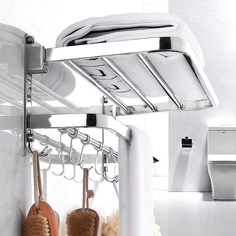 Towel rack 304 stainless steel punch-free folding multifunctional towel bar kitchen towel rack bathroom accessories