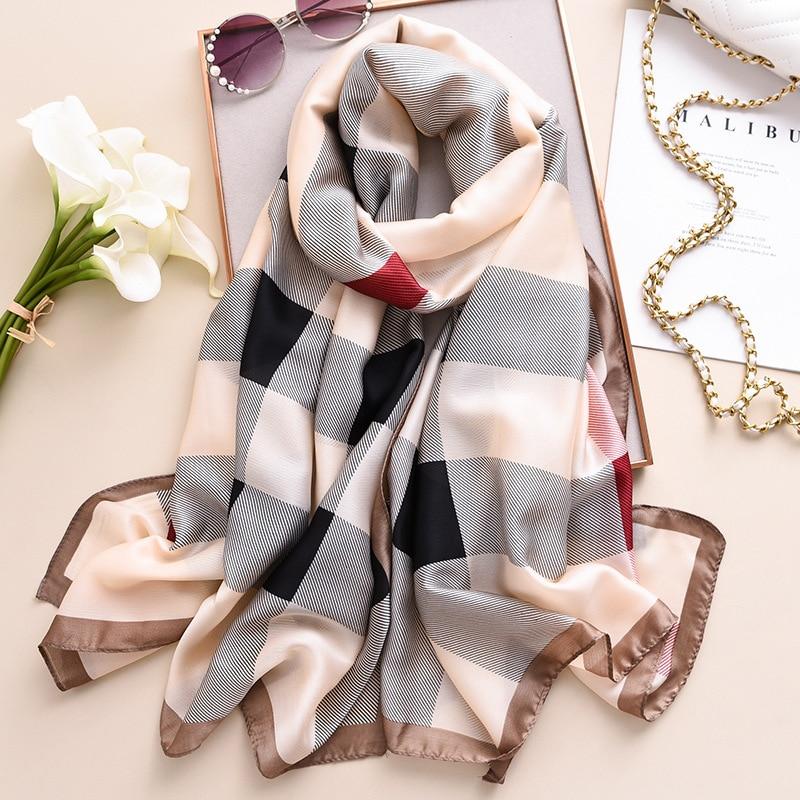 Luxury Brand Silk Scarf Women Classic Plaid Print Shawls And Wraps Pashmina Ladies Sunscreen Scarfs Hijab Beach Stole Bandana