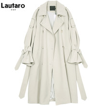 Lautaro Long trench coat for women raglan sleeve double breasted women clothes 2021 korean fashion loose plus size overcoat 7xl