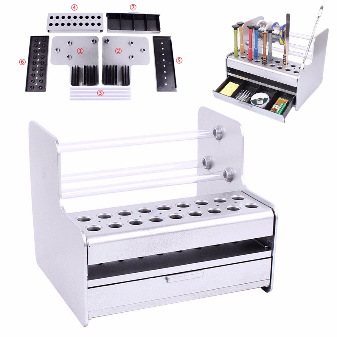 Mobile Repair Parts Storage Organizer Tray Rack Brush Screwdriver Maintenance Holder Desktop Storage Rack 160*175mm
