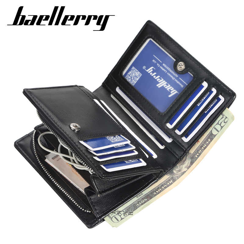 Baellerry Korte Mannen Portefeuilles Mode Nieuwe Card Purse Multifunctionele Orgel Lederen Portemonnee Voor Mannelijke Rits Portemonnee Met Pocket