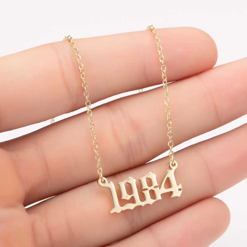 Yiustar Jahr Anzahl Anhänger Halskette Gold Edelstahl Halsreif für Frauen Nach Jahr 1980 1983 1986 Geburtstag Geschenk 1980 zu 1988