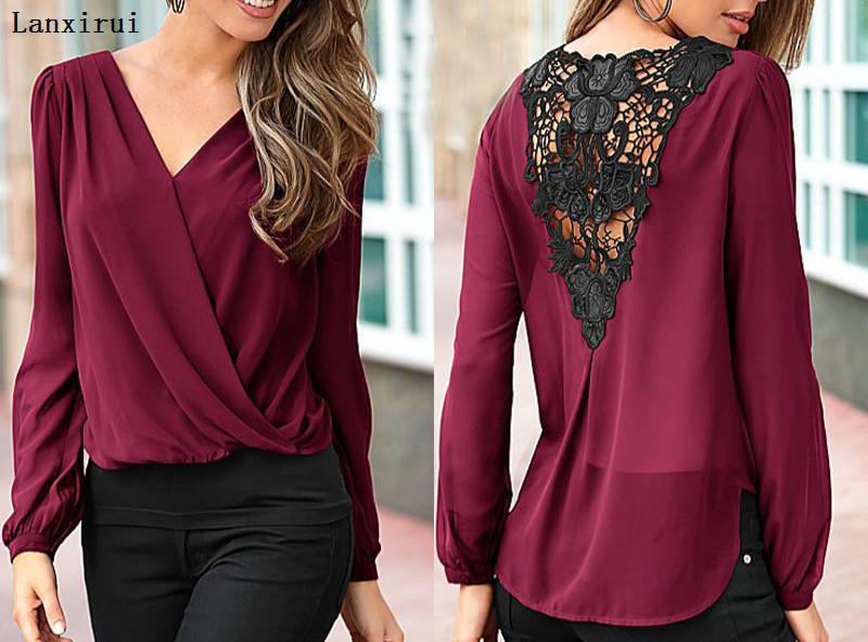 New Fashion Women Ladies Lace Floral V -Neck Long Sleeve   Shirts   Loose Casual Chiffon   Shirt     Blouses   2018 New