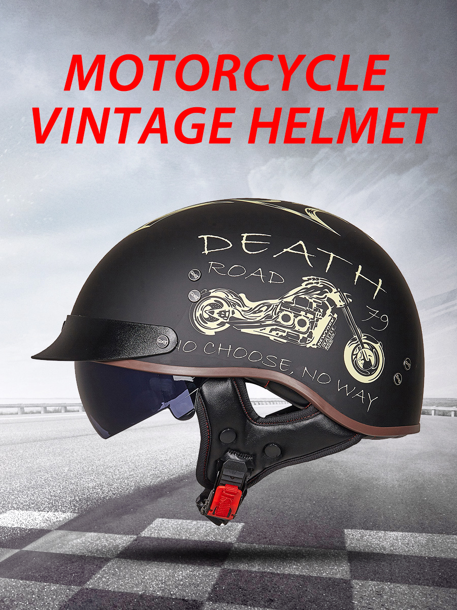 GXT Retro Motorcycle Helmet Scooter Casco Biker Half-Face Vintage Crash DOT Dot-Certification