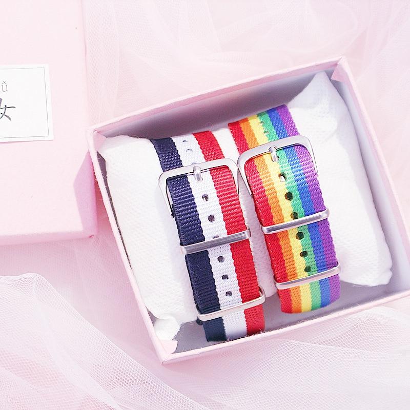 Pride Rainbow Weave Rope Buckle Bracelet Gay Lesbian Bracelet Friendship Gift Jewelry for Women Men 6 types