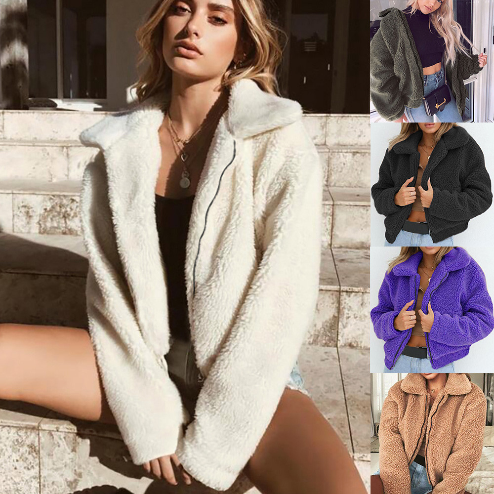 Womens Ladies Winter Warm Parka Artificial Wool Coat Zipper Jacket Female Winter Outerwear Thick Cotton velvet Outwear