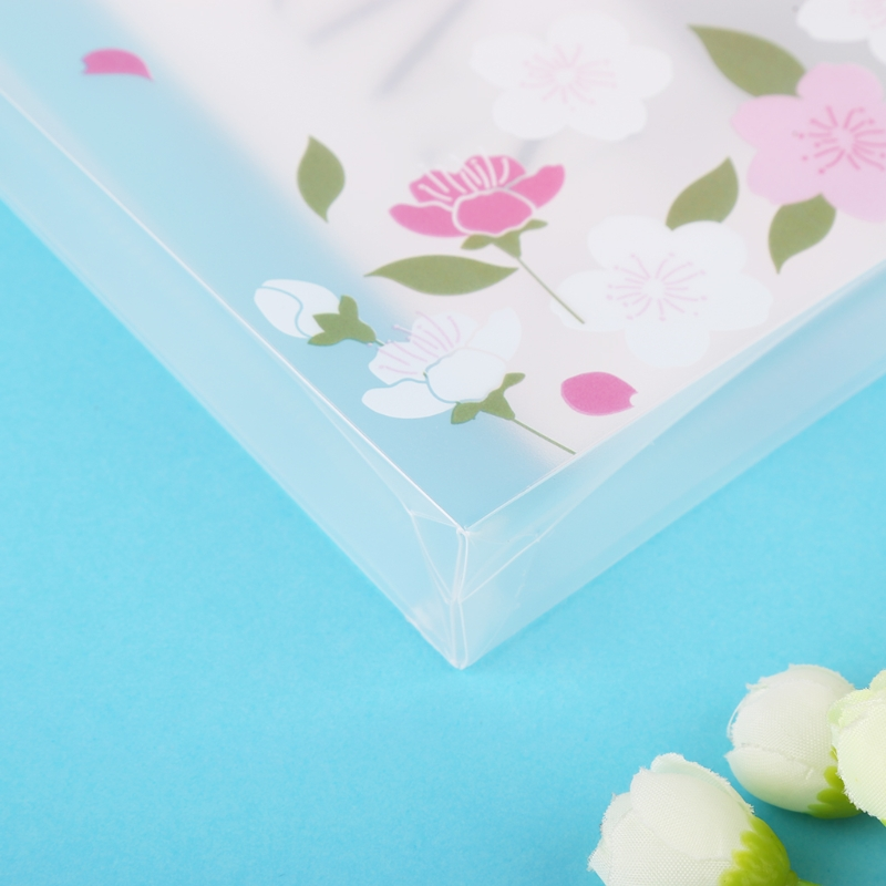 A4 A5 Cherry Blossom Clear Plastic Document Stationery Case Zipper Bag Pouch LX9A