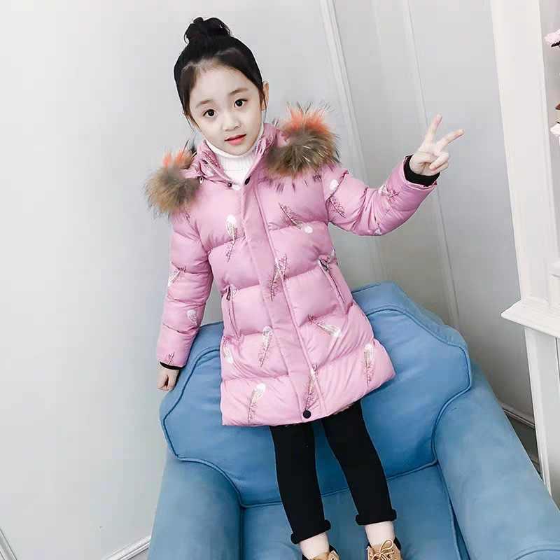 2019 Nova Parka Casacos de Inverno Meninas de Pele Real De Longo Casacos Com Capuz Crianças Casaco Meninas Algodão Jaqueta Acolchoada Para O Adolescente TZ434