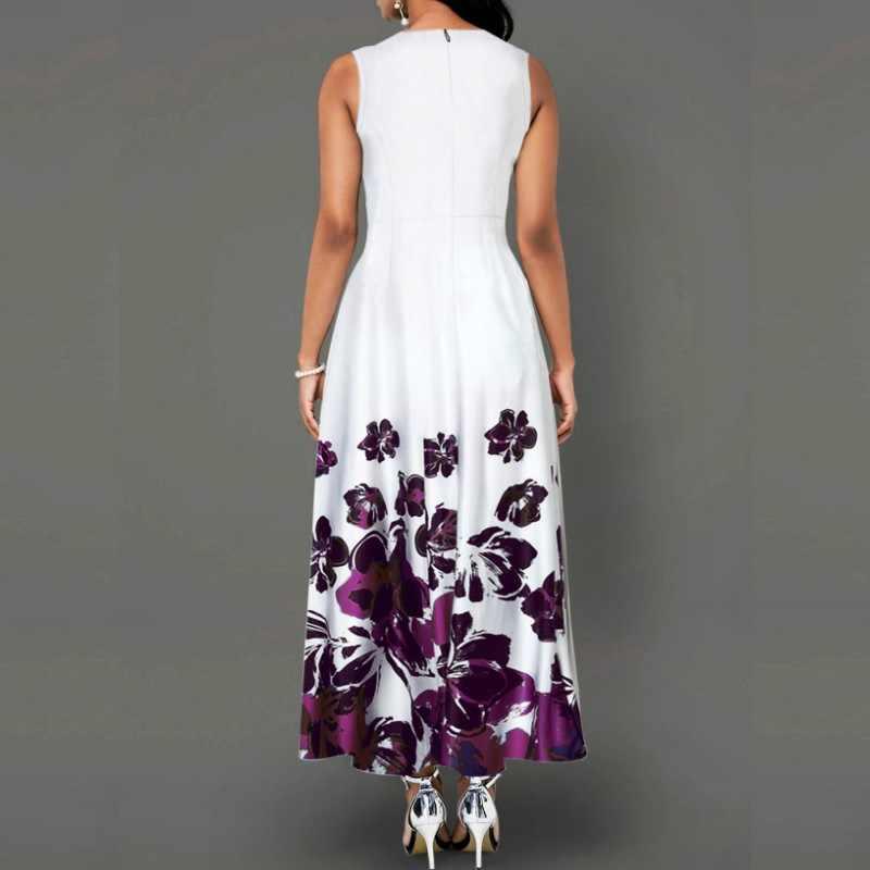 Платье без рукавов с цветочным принтом ol размера плюс, летнее женское винтажное ТРАПЕЦИЕВИДНОЕ вечернее платье vestidos, туника, Длинный Сарафан