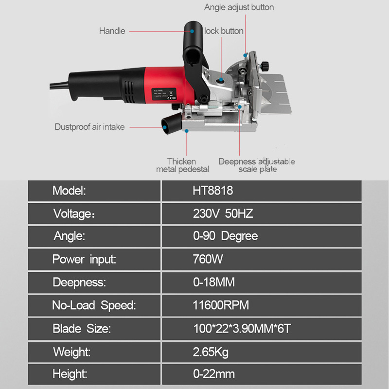 Biscuit Disc Joiner Biscuit 760W Machine Tool Tenoning Electric Groove Jointer Wood100mm NEWONE 220V Slotting Power Woodworking