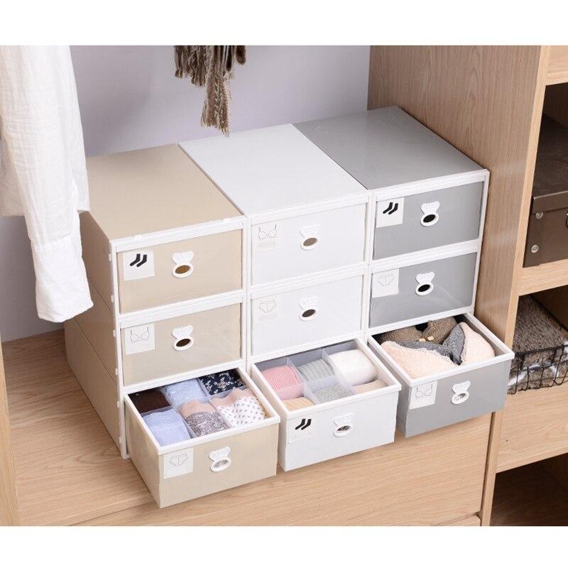 Três-pedaço japonês caixa de armazenamento de plástico gaveta underwear caixa de armazenamento gravata meias roupa interior organizador recipiente