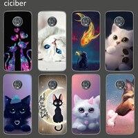 Funda de teléfono de TPU suave con diseño de gato para móvil, Funda para Motorola Moto de smartphone con diseño de gato, G9, G8, G10, G7, G6, E7, E6, E6s, E5, E4 Plus, Power Play Lite