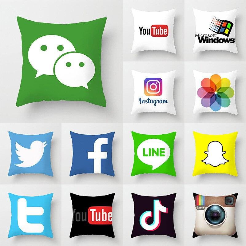 NEW App Brand Facebook Youtube Cushion Cover Home Decor Snapchat Instagram Throw Pillows Wedding Christmas Decoration Pillowcase