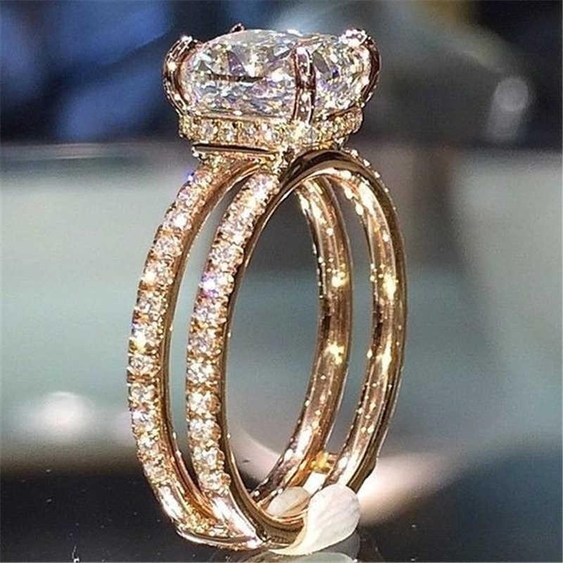 18k Gold Doppel-decker Diamant Krone Ringe weiß Topaz rincess Anillos Bague Ringe Diamante Bizuteria für Frauen weiß topaz ring