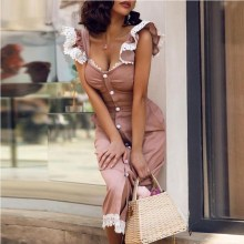 Summer Women Casual Short Ruffles Sleeve Square Neck Midi Dress Slim Button Front Pencil Sundress A Line Lace Patchwork Dress tie sleeve button front pencil dress