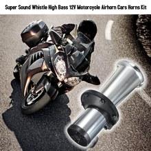 Klakson zestaw motocyklowy Airhorn samochód trąbka pojazd pojedyncza rura róg Super dźwięk gwizdek wysoki bas 12V tanie tanio Wielu tone claxon rogi