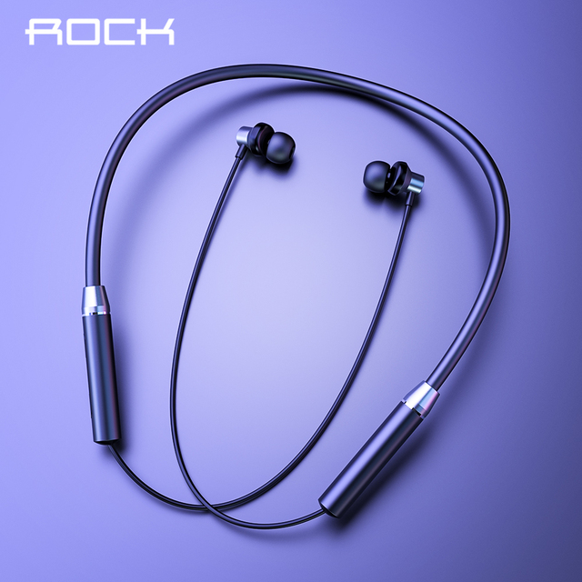 ROCK Sport Magnetic Bluetooth V5.0 Earphone Wireless Earphones Magnet Earbuds With Microphone Stereo Auriculares Neckband