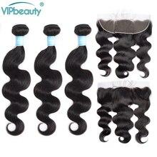 Extensiones de cabello humano Remy de ondas de cuerpo malayo Vip beauty 13x4 cierre frontal de malla con mechones de Color Natural de 10 26 pulgadas