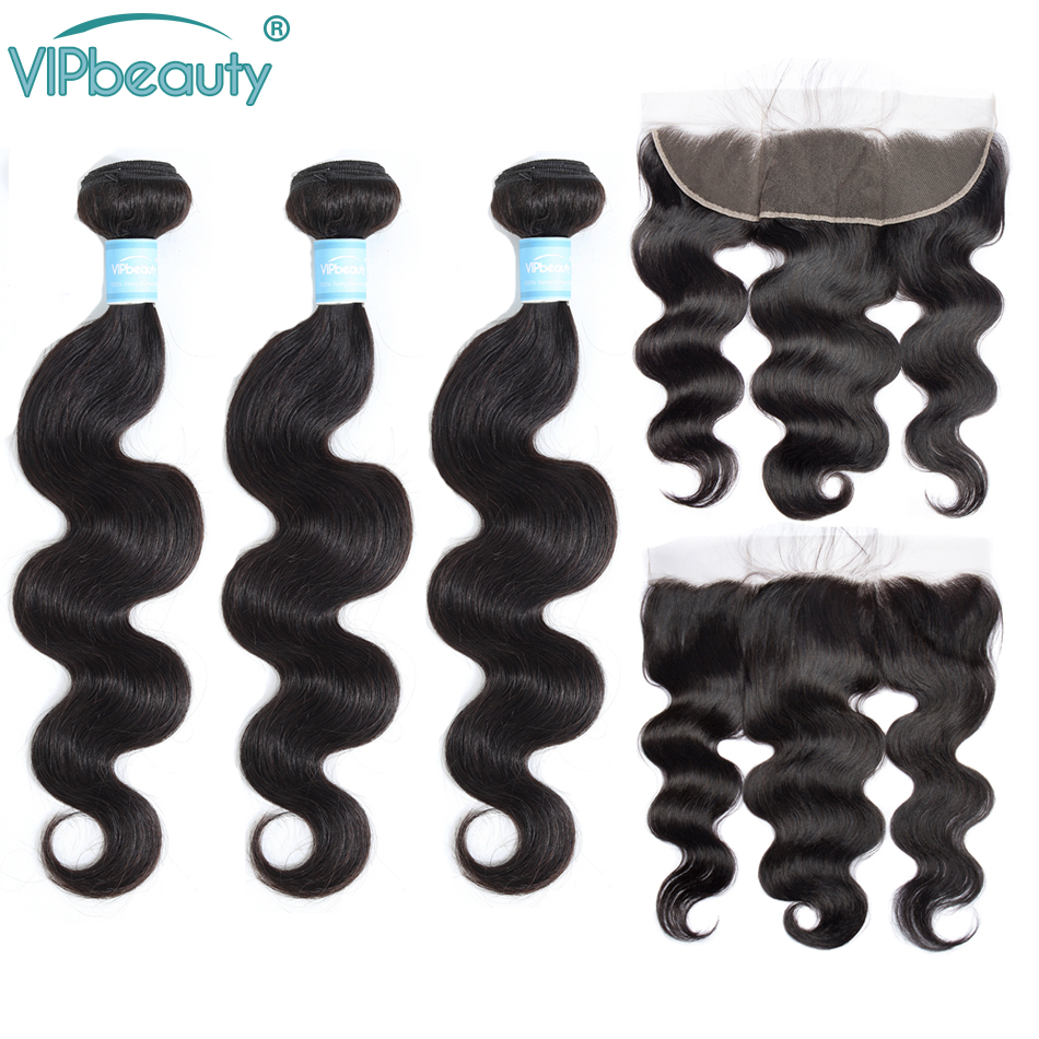 Vip Beauty Malaysian Body Wave Remy Human Hair Bundles 13x4 Lace Frontal Closure With Bundles Natural Color 10-26 Inches