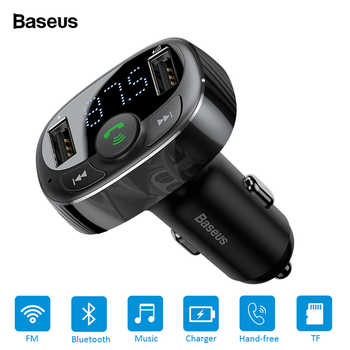 Baseus FM Transmitter Handsfree Bluetooth Car Kit for Mobile Phone LCD MP3 Player With 3.4A Dual USB Car Phone Charger - DISCOUNT ITEM  40% OFF All Category