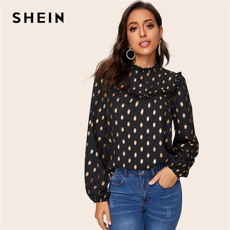 SHEIN Black Frill Trim Lantern Sleeve Gold Dot Print Blouse Top Women Spring Autumn Stand Collar Office Lady Elegant Blouses