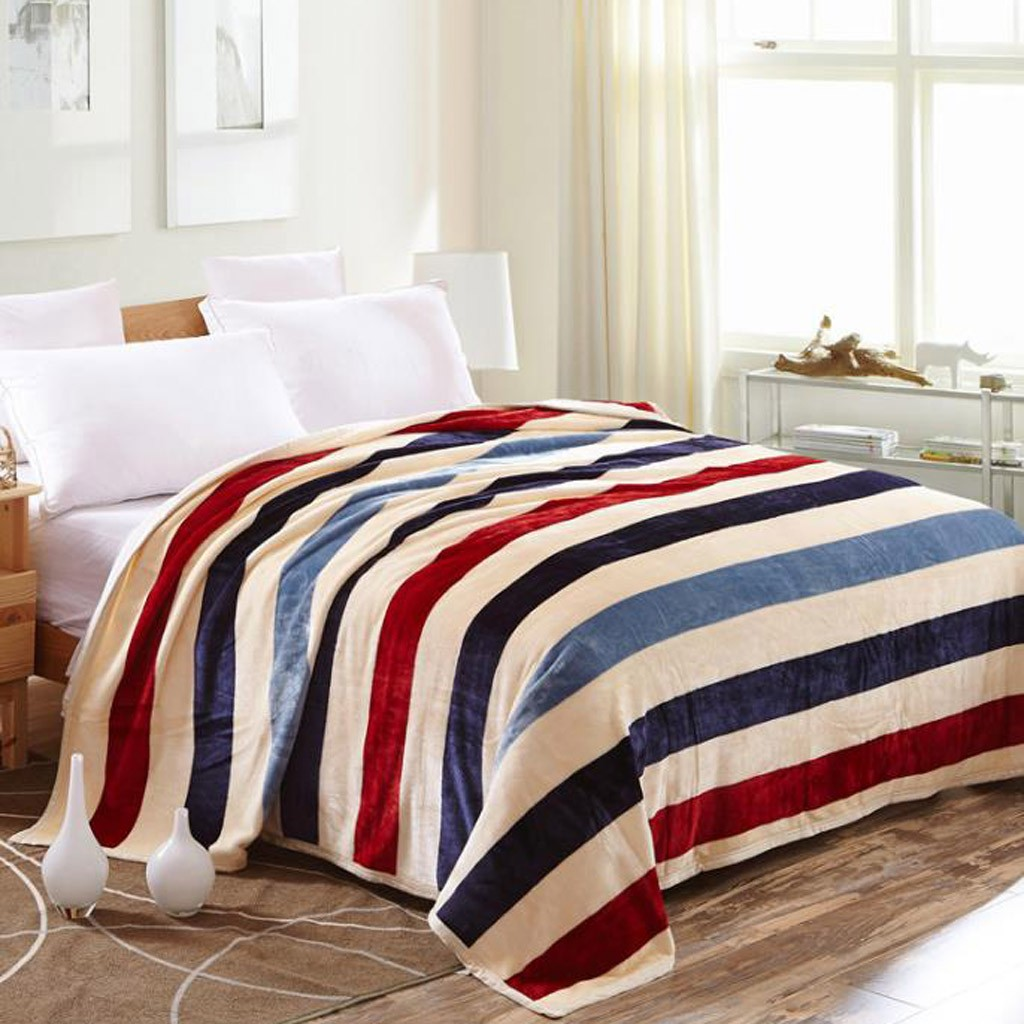 1PC Flannel Blanket Super Soft Warm Solid Warm Micro Plush Fleece Blanket Throw Rug Sofa Bedding Blanket Stripe Color
