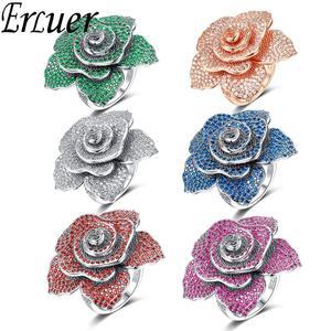Image 4 - ERLUER bagues de bijoux de marque pour femmes, bague de luxe, en cristal rose, zircon, à la mode, pour fêtes de mariage, de luxe