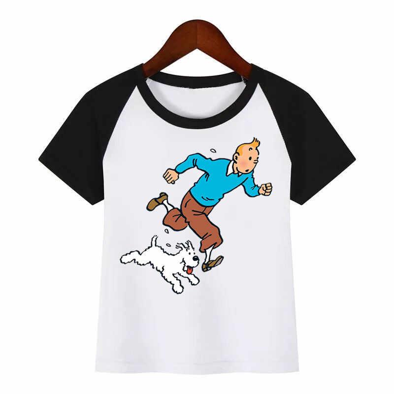 Dei bambini Del Nuovo Fumetto TINTIN Divertente Stampa T Shirt Estate Dei Bambini T-Shirt Per Bambini di Abbigliamento di Moda Della Maglietta Dei Bambini Del Fumetto T-Shirt
