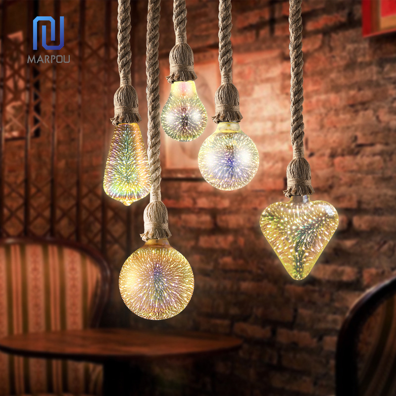 Modern Pendant Light Rope Lamp Hanging Lights Holder 3D Firework Bulbs AC85-265 Pendant Lamps For Kitchen Living Room Restaurant
