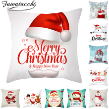 Fuwatacchi Christmas Gift Cushion Covers Cute Cartoon Santa Claus Pillow Cover for Sofa Home Decoration Throw Pillowcases 45x45