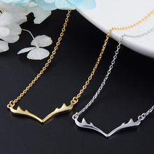 Fashion S925 Silver Necklace Women Exquisite Korean Version Golden And Silver Deer Head Shape Pendant Choker Female Jewelry deer king s925 silver pendant jewelry wholesale silver antique style pendant mary maria