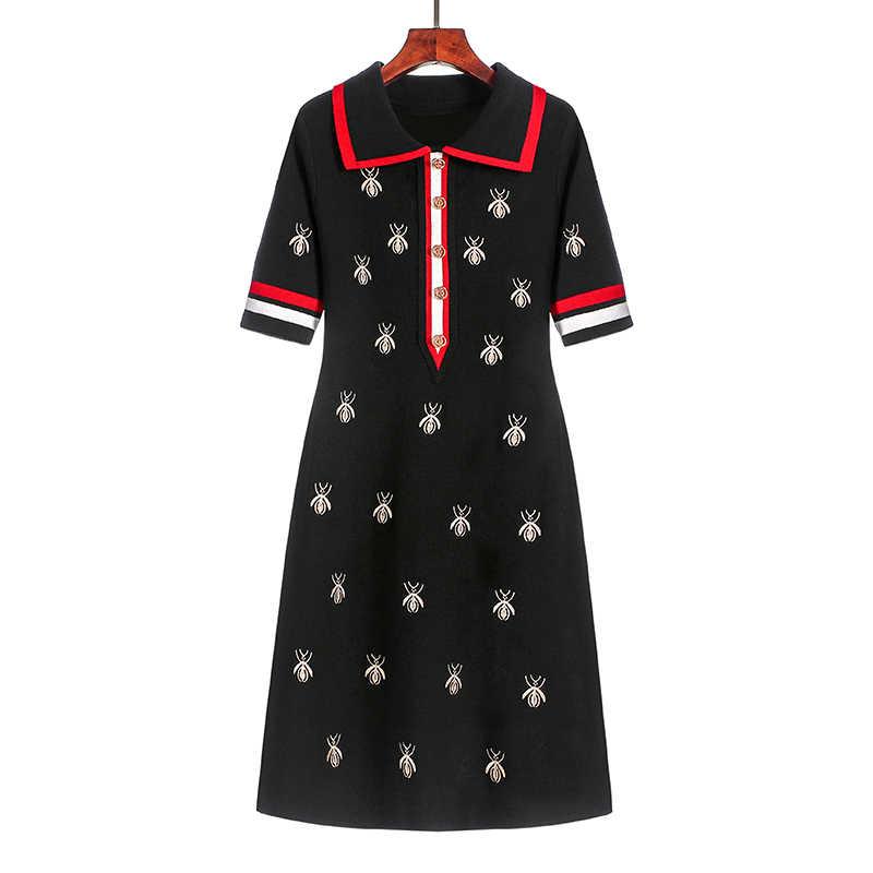 2020 ilkbahar yaz örgü karikatür işlemeli Polo elbise kadın artı boyutu siyah Casual diz boyu düz elbiseler kadın