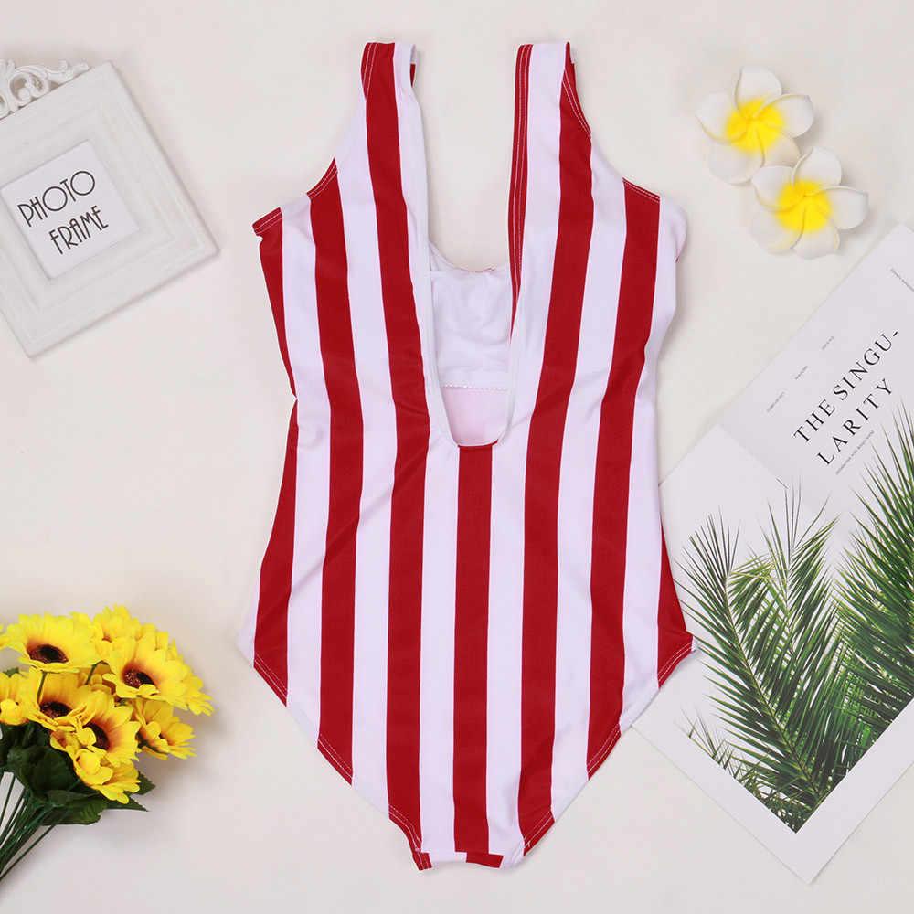 2020 maillot de bain rayé une pièce maillot de bain femmes dos nu Monokini maillot de bain Sport body plage maillot de bain nager rouge blanc