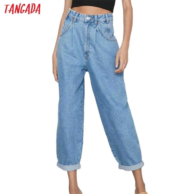 Tangada 2020 Fashion Women Blue Mom Jeans Pants Long Trousers White Black Loose Pockets Zipper Female Pants 2M80